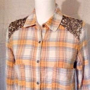 'Free People' Flannel and Sequin Shirt